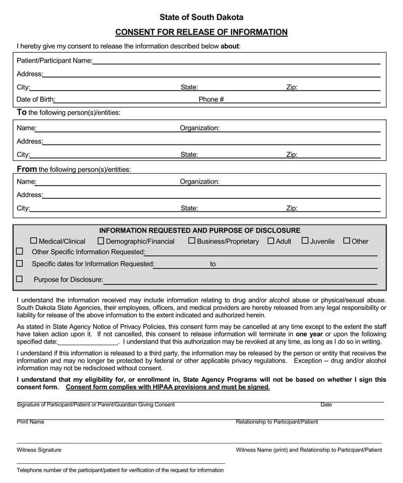 South Dakota HIPAA Medical Release Form