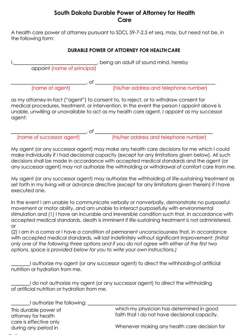 South Dakota Medical POA Form