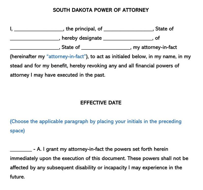 South Dakota Power of Attorney Form