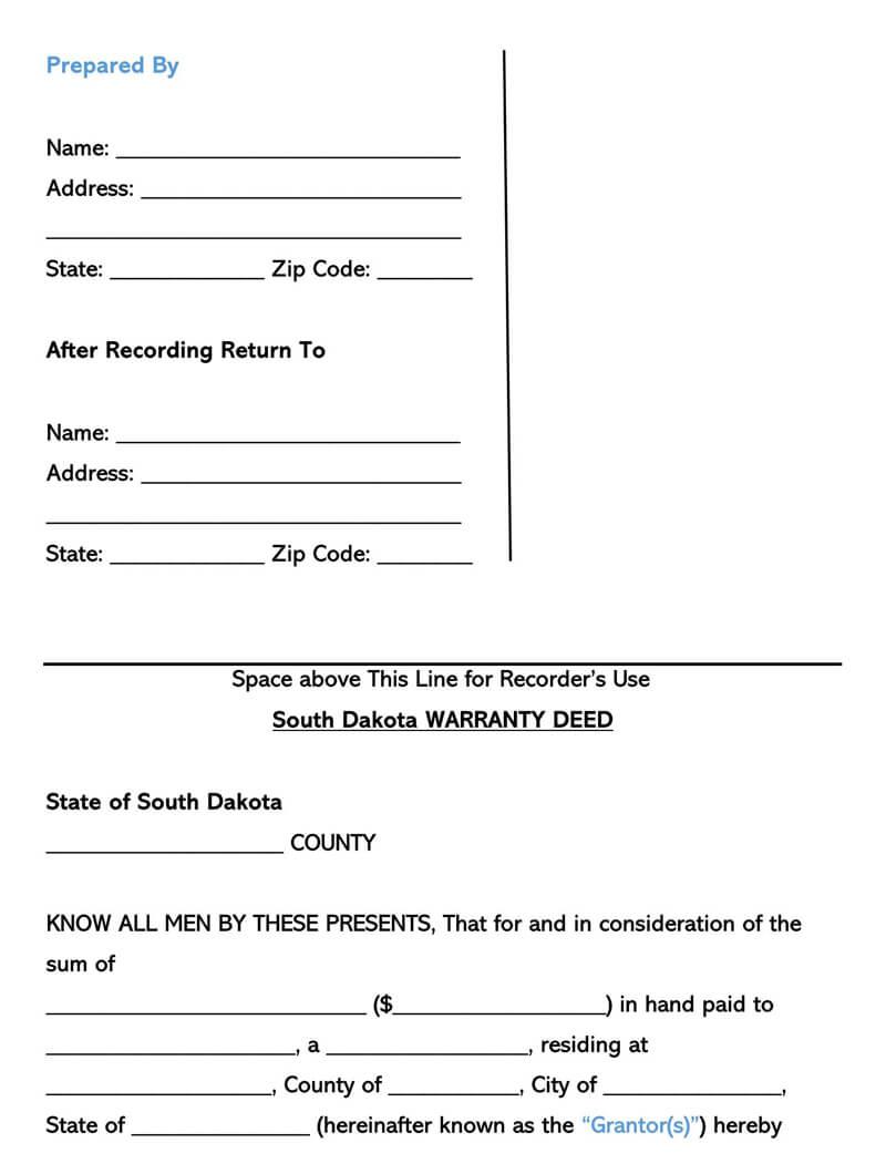 South Dakota Warranty Deed Form