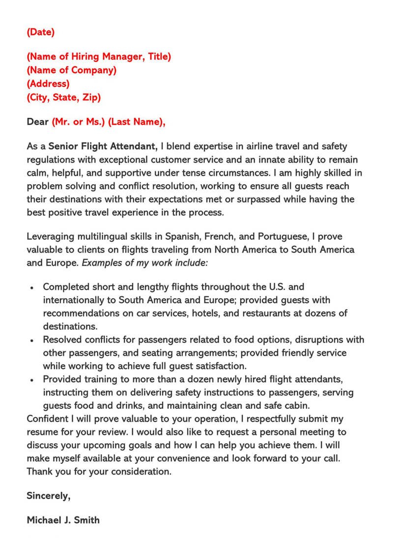 Southwest Flight Attendant Cover Letter