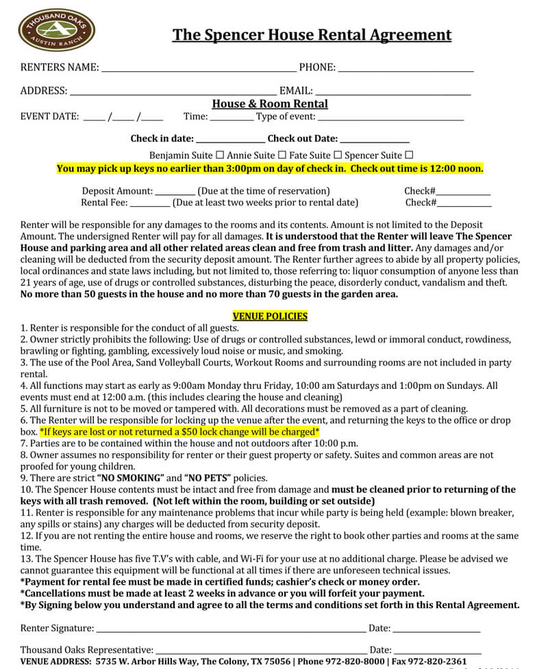 Spencer House Rental Agreement