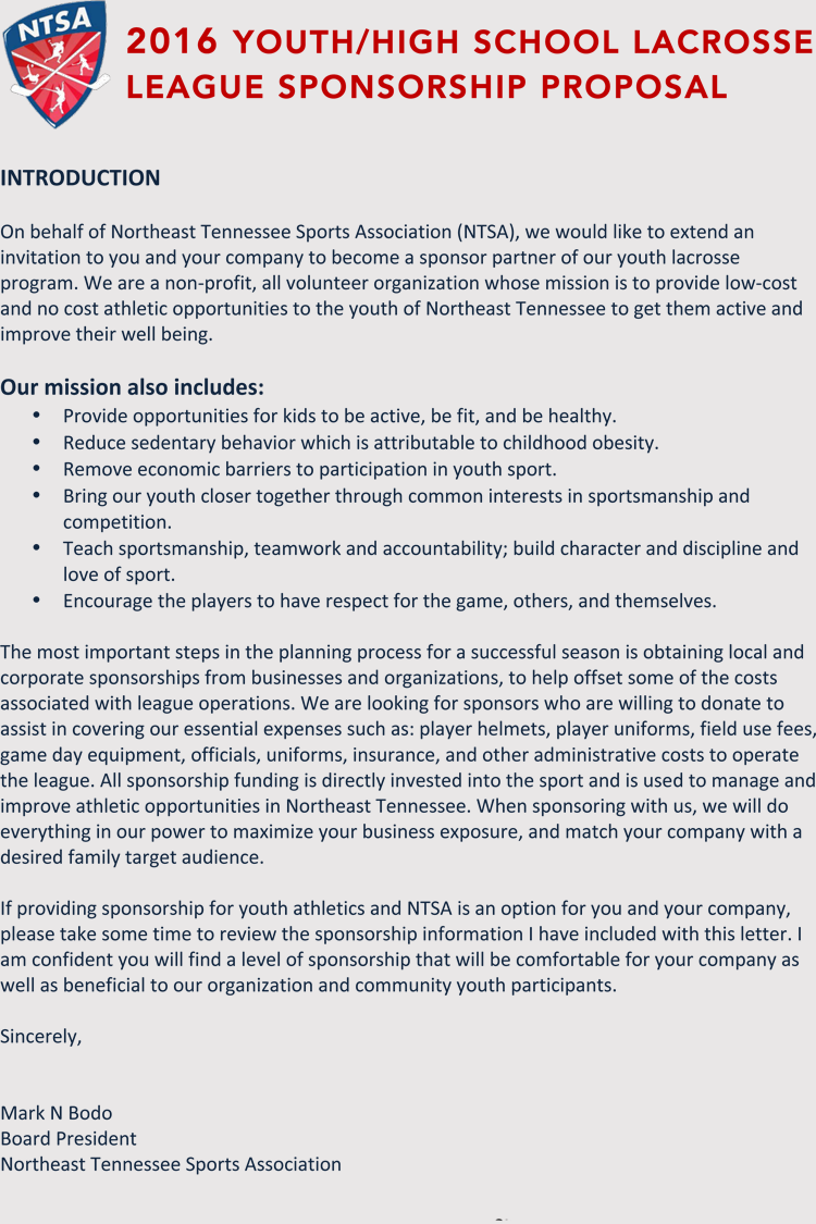 sponsorship letter template writing a sports sponsorship application with samples 24945 | Sports League 1