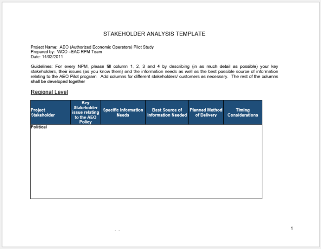 Stakeholder Analysis Definition and Template