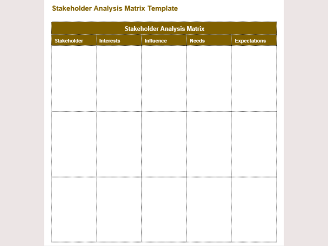 Stakeholder Ysis Matrix Example