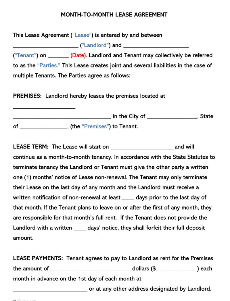 Standard Month -to-Month Lease Agreement