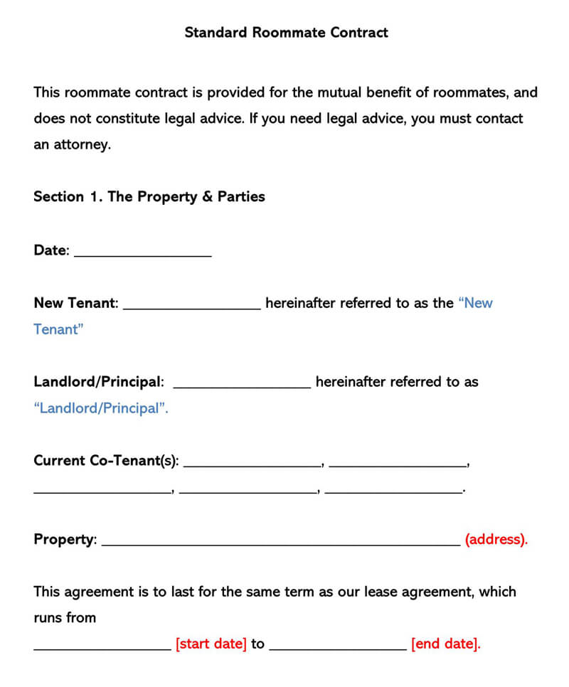 Standard Roommate Rental Agreement