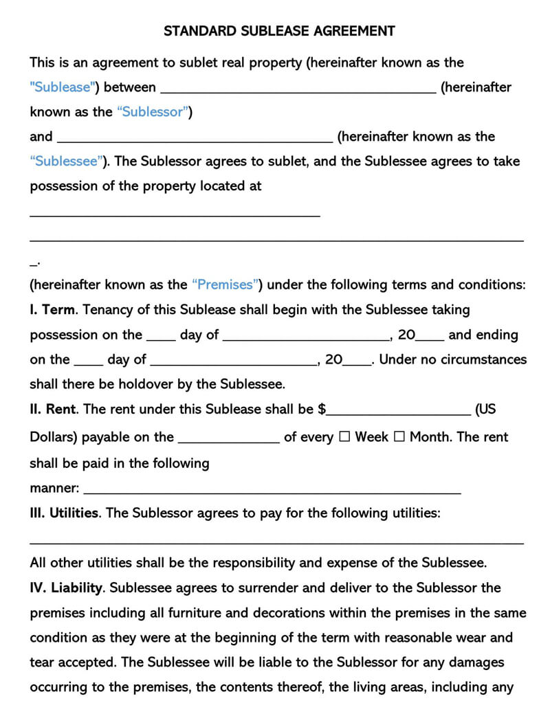 Standard SubLease Agreement Template