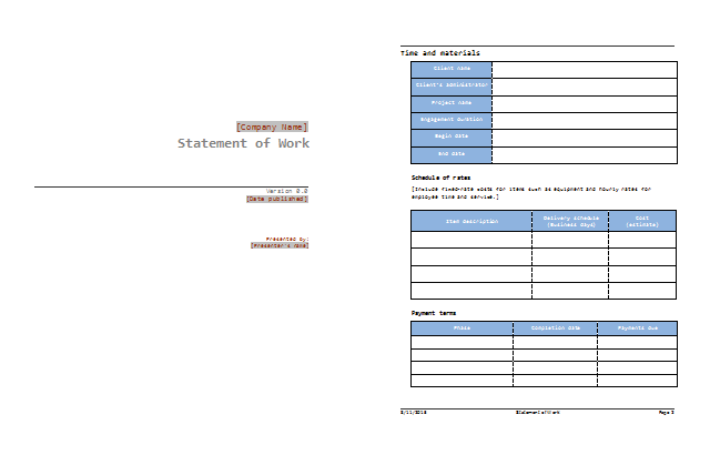 Statement of Work Template Best SOW Examples – Sample Statement