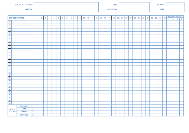 Amazing Student Attendance Sheet Template ( Monthly Basis)  Free Printable Attendance Sheets