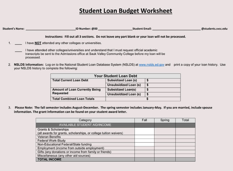 Student Budget Template for loan
