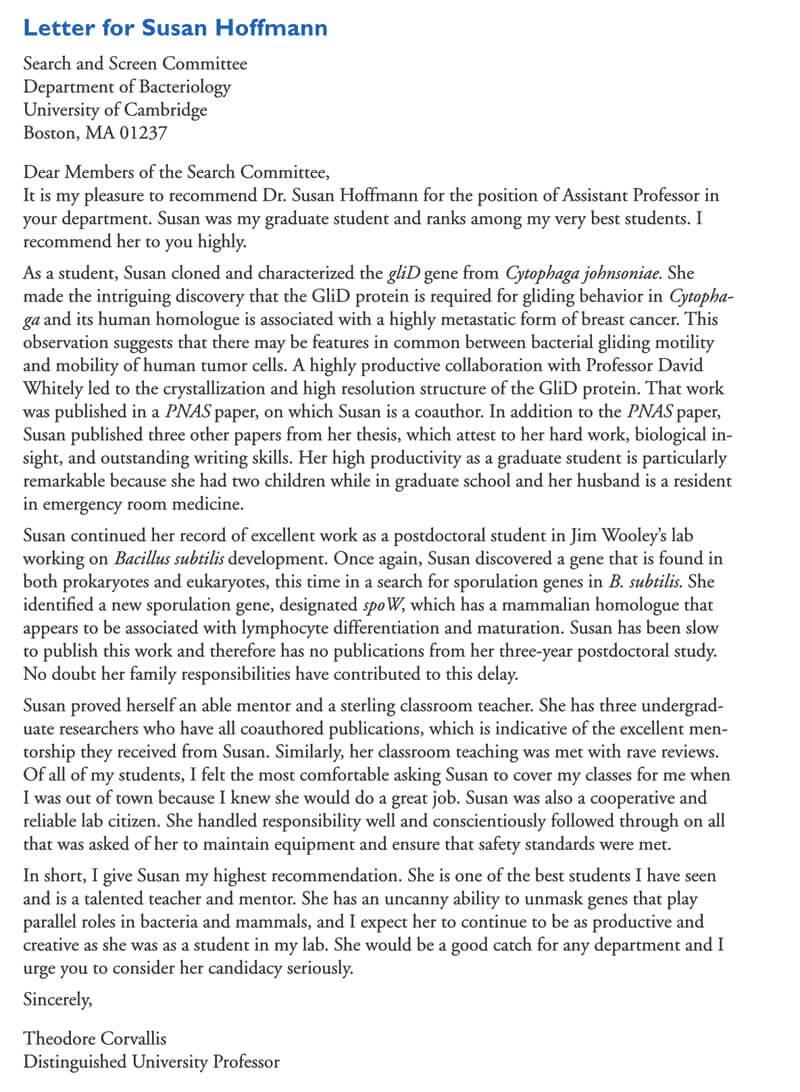Student Recommendation Letter Format