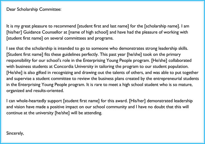 Student Reference Letter for Scholarship
