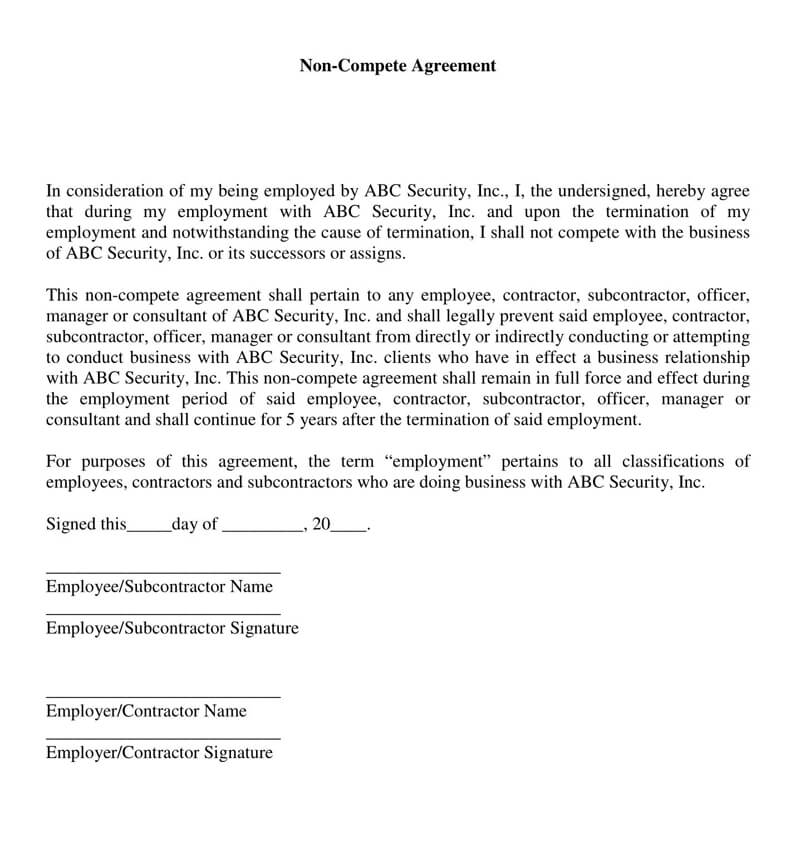 Sub-Contractor Non-Compete Agreement Form