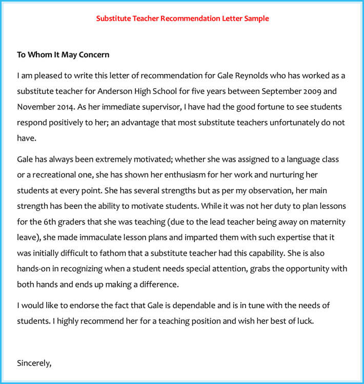 Reference letter examples 20 samples formats writing tips substitute teacher recommendation reference letter spiritdancerdesigns Gallery