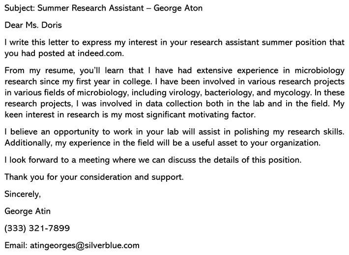Summer Job Cover Letter email example