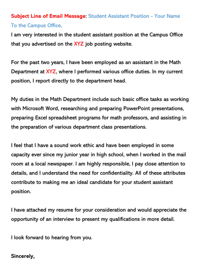 Summer Job Example for Email Cover Letter