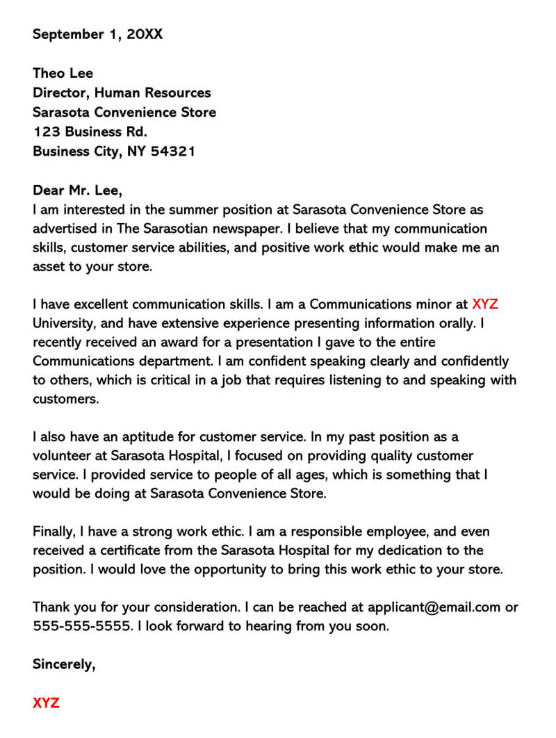 Summer Job for Customer Service Cover Letter