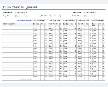 Task Assignment Form Templates for Microsoft Word