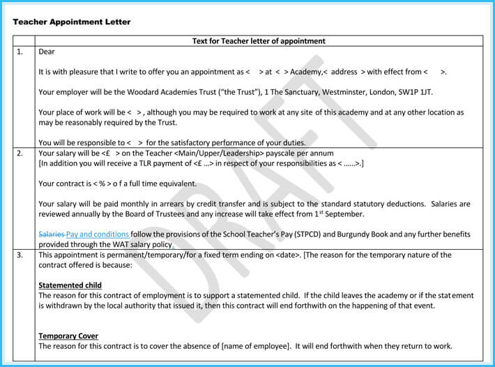 Teacher appointment letter templates 7 samples in word pdf sample of teacher appointment letter altavistaventures Images
