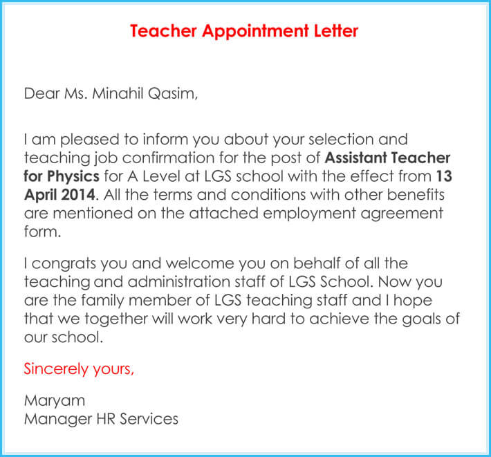 sample of teacher appointment letters