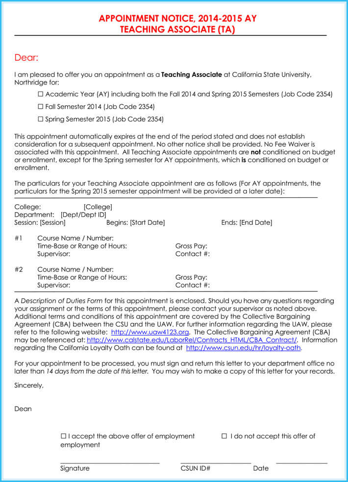 Teacher Appointment Letter (7+ Samples Letters and Templates)