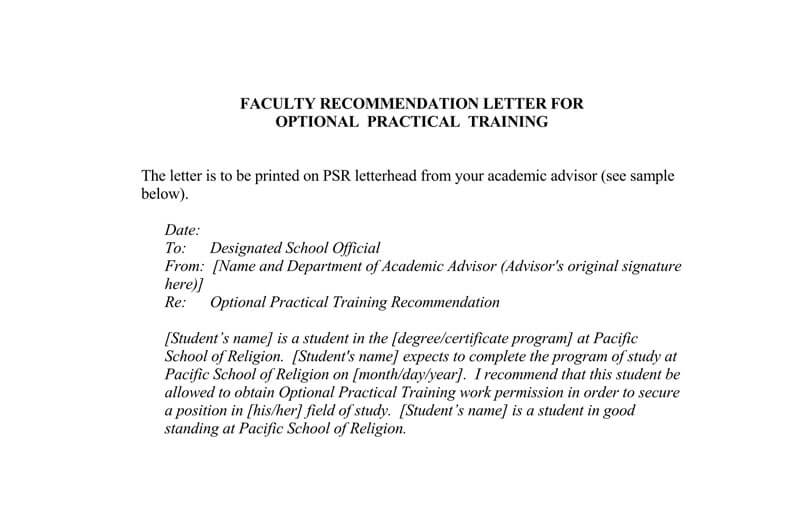 Teacher Recommendation Letter for Faculty Position
