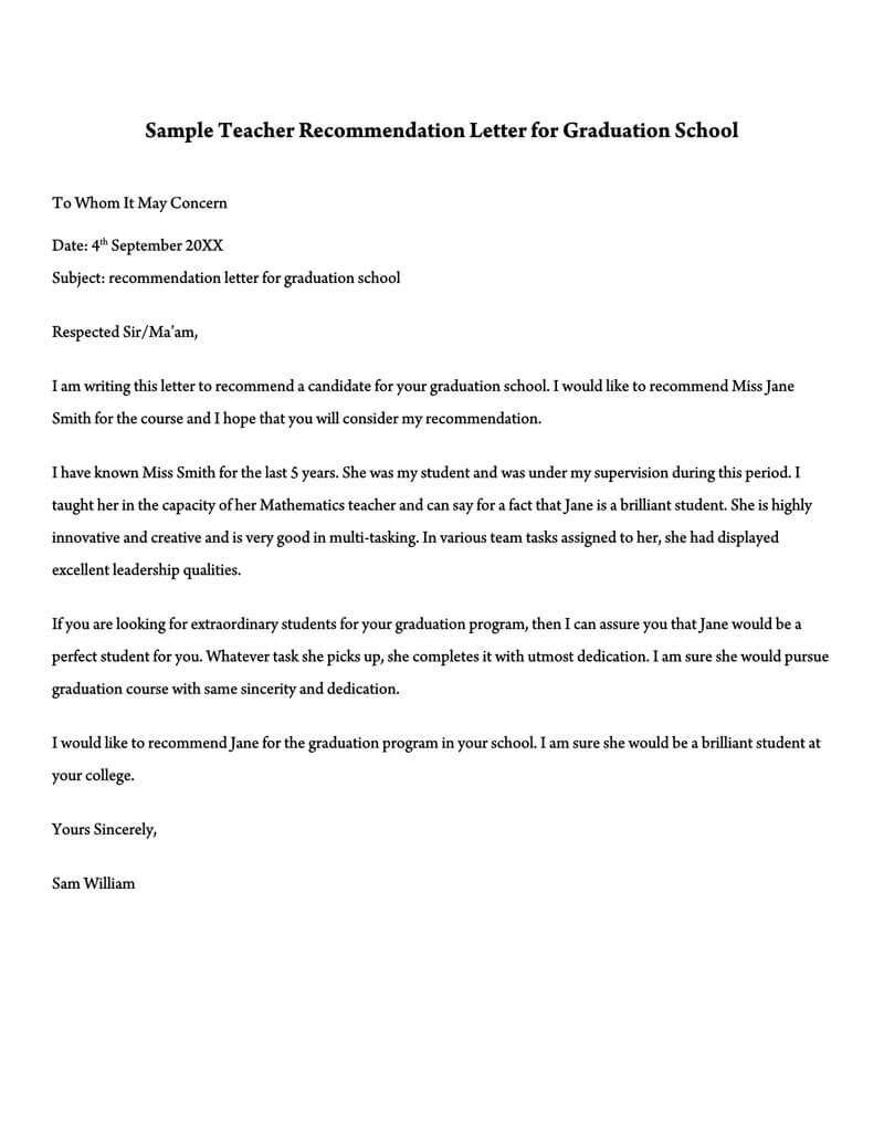 Teacher Recommendation Letter for Graduation School