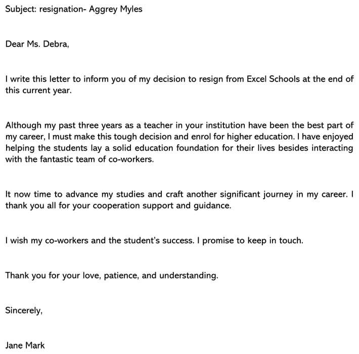 Teacher Resignation Letter email example