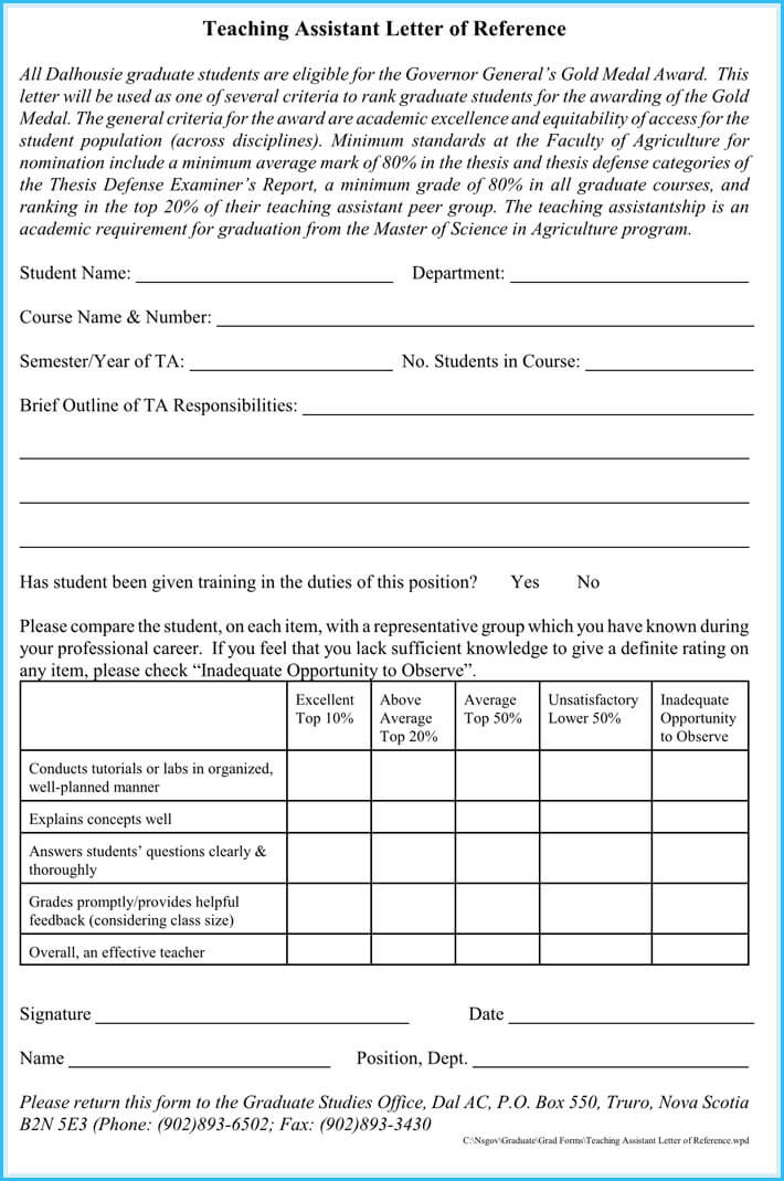 Teaching Assistant Reference Letter