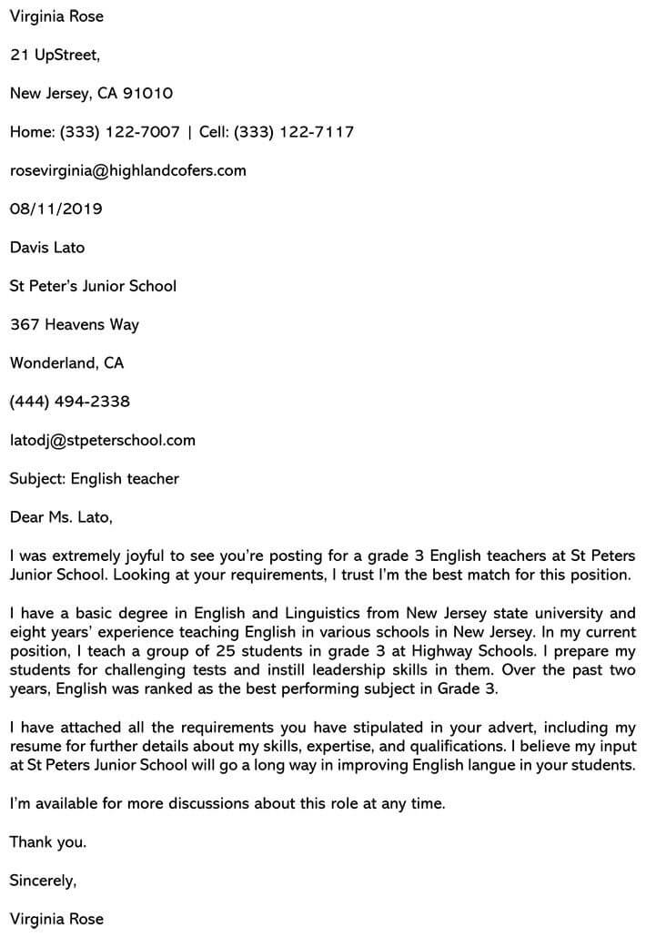 Best Teaching Cover Letter Sample And Email Example
