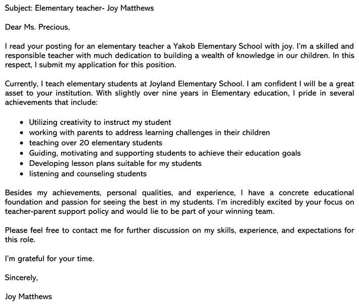 Cover Letter Sample Teacher from www.wordtemplatesonline.net