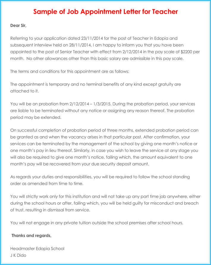 Temporary appointment letter 8 samples examples writing tips temporary appointment letter for teacher sample fake temporary appointment letter altavistaventures Images
