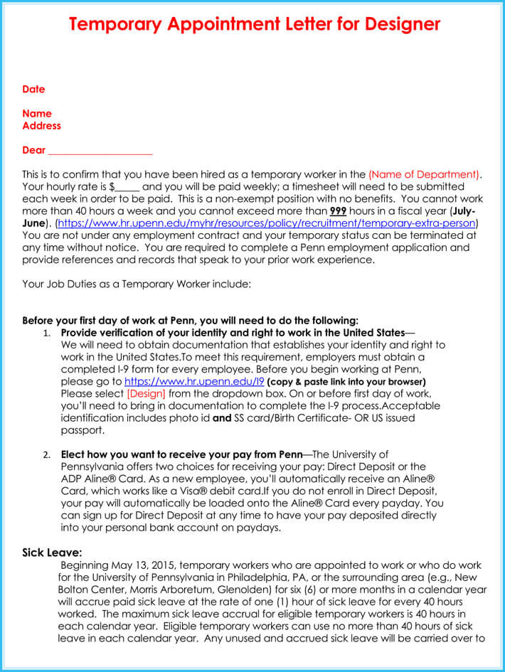 download free temporary appointment letter
