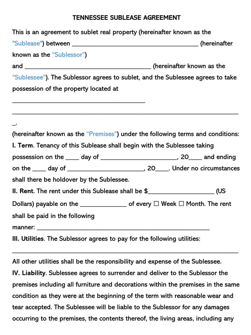Tennessee SubLease Agreement Template