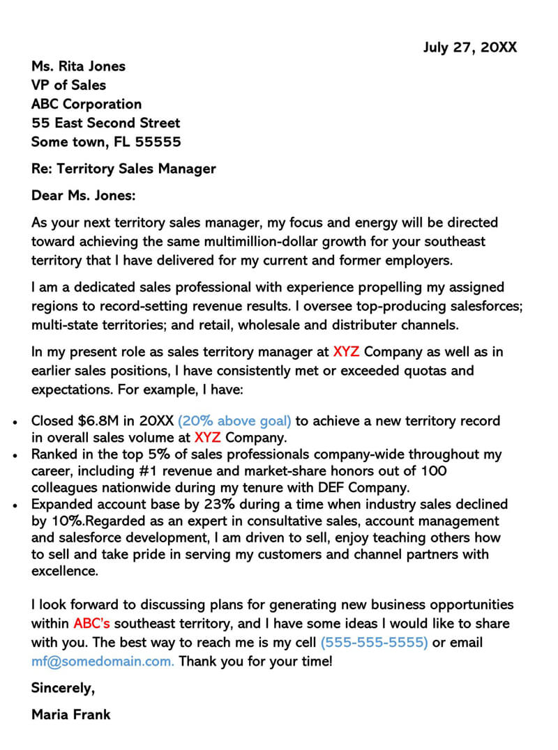Territory Sales Manager Cover Letter