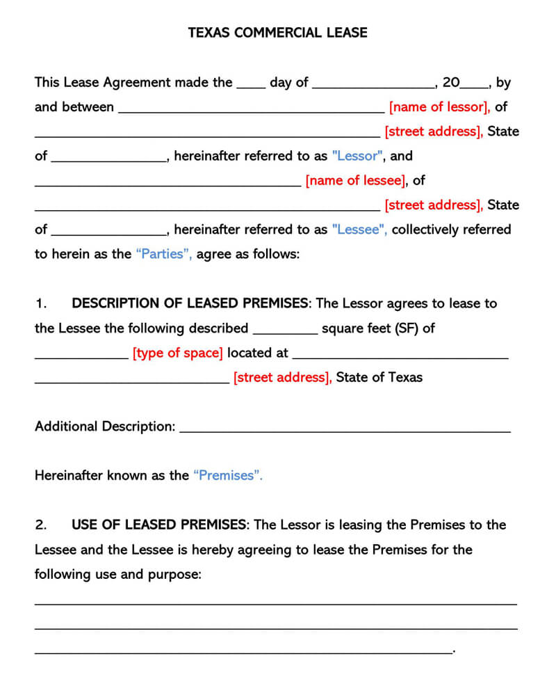 Texas Commercial Rental Lease Agreement
