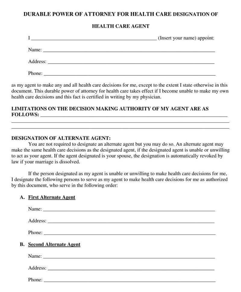 Texas Medical POA Form