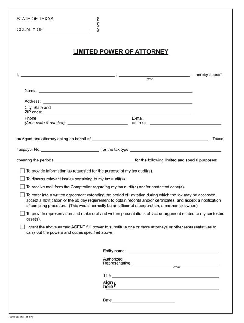 Texas State Tax POA (Form-86-113)