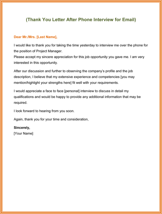 Send Thank You Letter After Phone Interview 5 Best Examples – Thank You Letter After an Interview