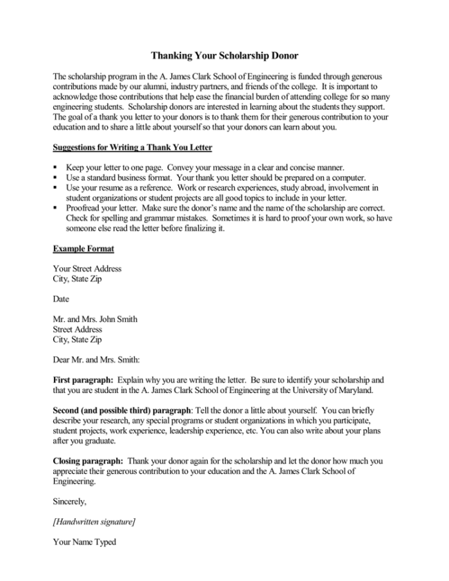 Scholarship Thank You Letter Samples Examples And Formats - Scholarship thank you letter template