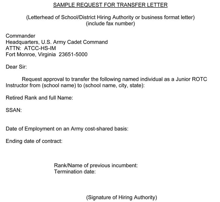 sample letter of request for transfer of workplace