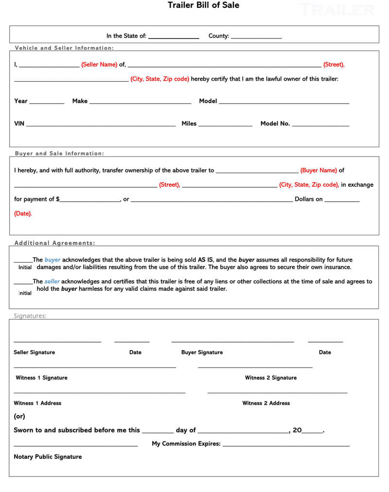 Travel Trailer Bill of Sale Form 02