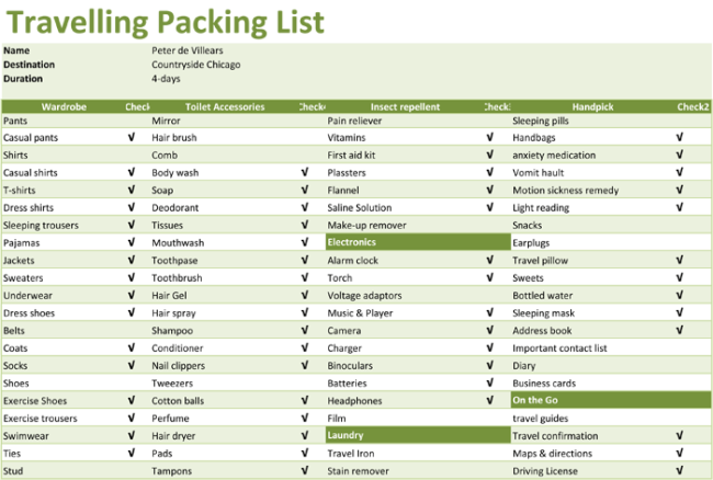 packing checklist template 5 printable packing lists. Black Bedroom Furniture Sets. Home Design Ideas