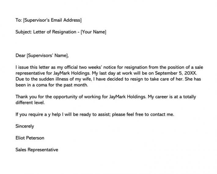 Two week notice resignation email (Word format)