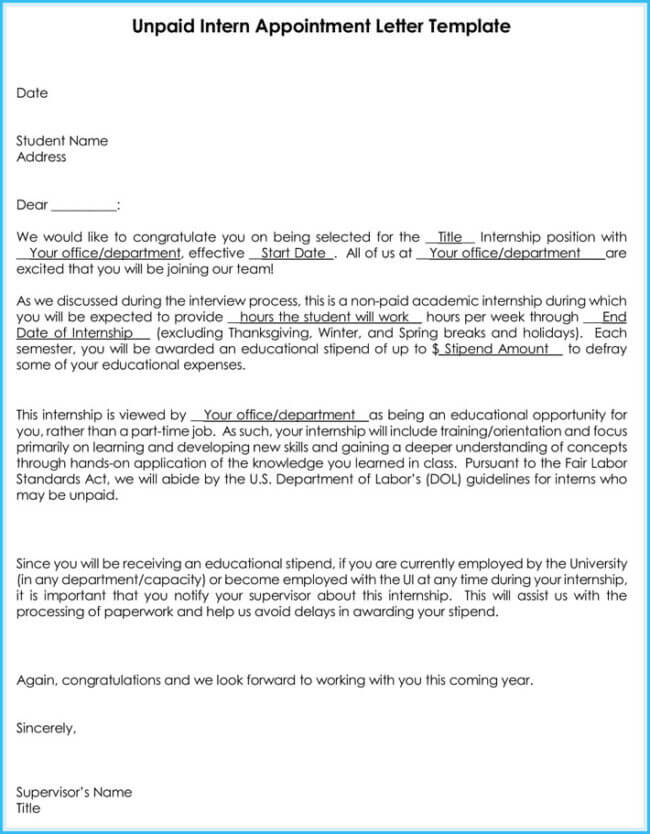 Internship Offer Amp Appointment Letter Template 7