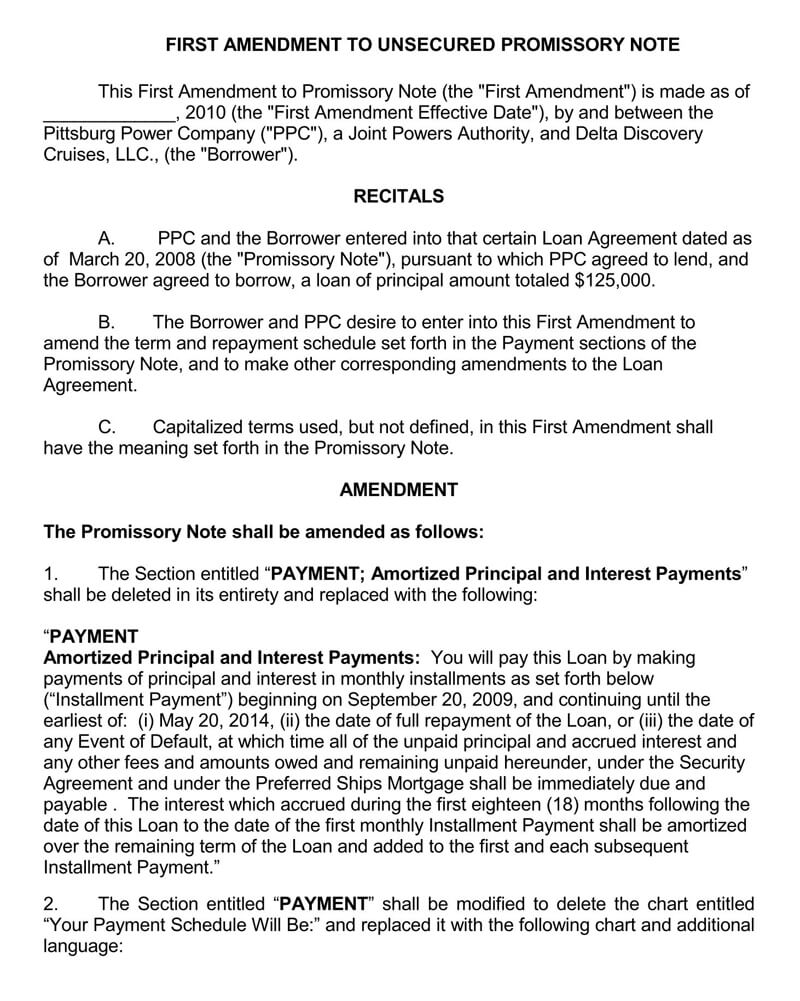 Unsecured Promissory Note PDF Template 03