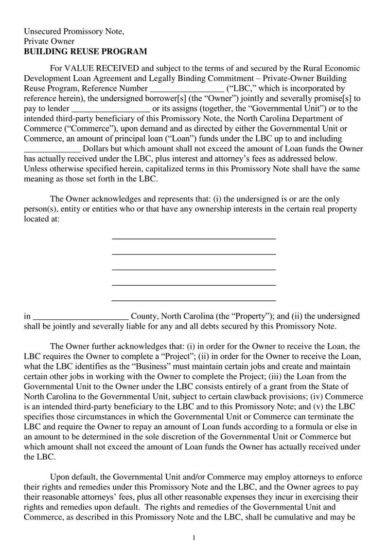 Unsecured Promissory Note PDF Template 04