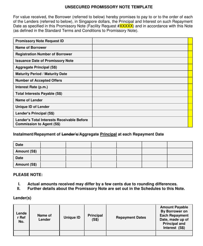 Unsecured Promissory Note PDF Template 08