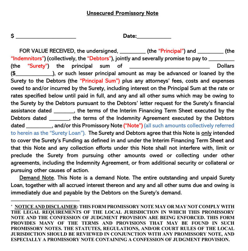 Unsecured Promissory and Confessed Judgment Note Template